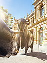 Germany, Frankfurt, bull and bear bronze sculptures at Stock Exchange - KRP01974