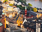 Germany, Frankfurt, view to Old St Nicholas Church at Roemerberg from above - KRPF02001