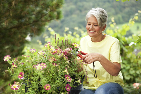 Mature woman cutting flowers with a pruner - MFRF00750