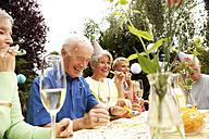 Seniors celebrating birthday oarty in garden - MFRF00792