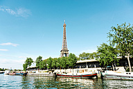 France, Paris, view to Eiffel Tower with Seine in the foreground - GEMF01264