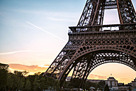 France, Paris, part of Eiffel Tower by sunset with Trocadero in the background - GEMF01270