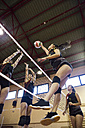 Volleyball player spiking the ball during a volleyball match - ABZF01553