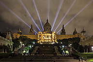 Spain, Bacelona, view to illuminated  National Art Museum of Catalonia at night - ABOF00117
