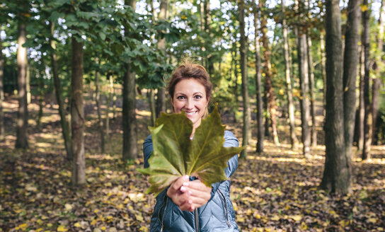 Smiling woman holding autumn leaf in the forest - DAPF00473