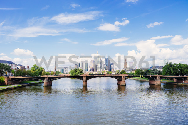 Germany, Frankfurt, view to skyline  with Ignatz-Bubis-Bridge and Main River in the foreground - KRPF02043
