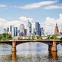 Germany, Frankfurt, view to skyline  with Ignatz-Bubis-Bridge and Main River in the foreground - KRPF02046