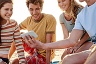 Happy friends with cell phone on the beach - WESTF22054