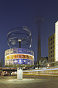 Germany, Berlin, world clock at Alexanderplatz by night - GF00880