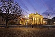 Germany, Berlin, view to lighted Brandenburg Gate - GFF00892