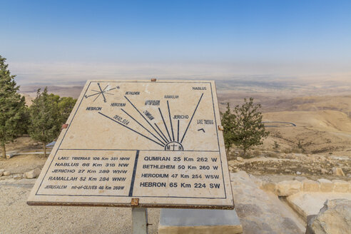 Jordan, Madaba Province, sign with indications of distance on Mount Nebo - MABF00410