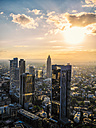 Germany, Frankfurt, city view at sunset seen from above - KRPF02049