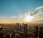 Germany, Frankfurt, city view at sunset seen from above - KRPF02052