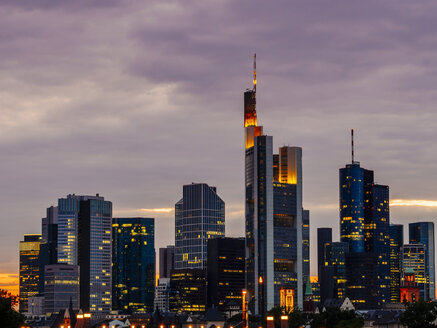 Germany, Frankfurt, view to skyline of financial district at twilight - KRPF02064
