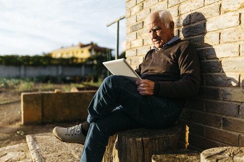 Senior man sitting on tree stump using tablet - JRFF01072