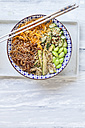 Buddha bowl of Edamame, cucumber, carrots, courgettes, Shirataki noodles and sesame - SBDF03080