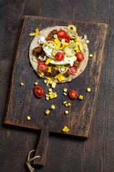 Mexican Tortilla with mincemeat, avocado, tomato, corn, Jalapeno pepper and sour cream - SBDF03092