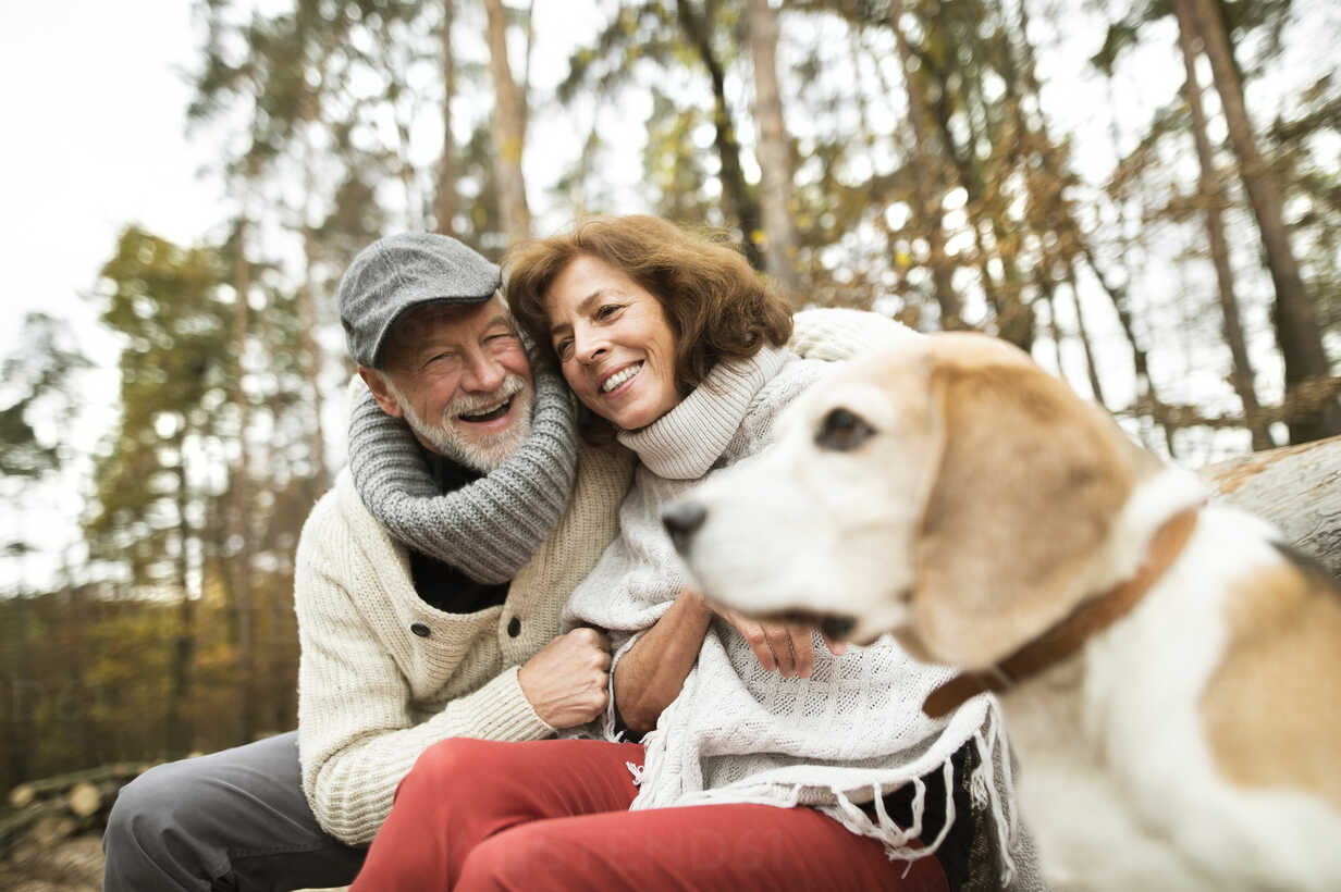 Happy senior couple with dog in nature - HAPF01155 - HalfPoint/Westend61
