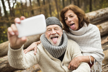 Portrait of senior couple sticking out tongues while taking selfie - HAPF01161