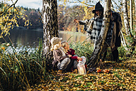 Hansel and Gretel, Witch scaring boy and girl sitting in forest - MJF02095
