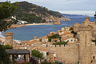 Spain, Costa Brava, Tossa de Mar, Old Town and Mediterranean Sea - ABOF00136