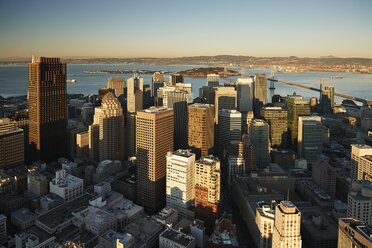 USA, San Francisco, view to downtown from above at morning light - BCDF00237