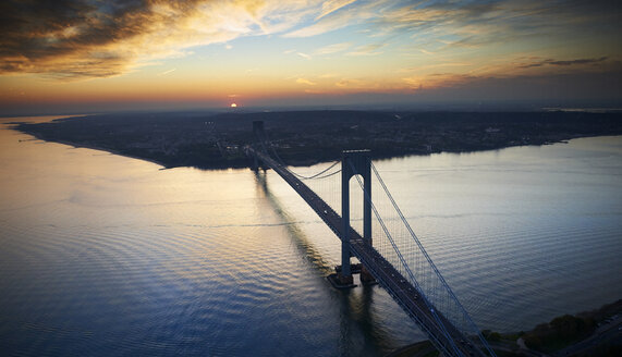 USA, New York City, Verrazano-Narrows Bridge at twilight seen from above - BCDF00240