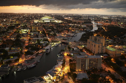 USA, Miami, view to the lighted city in the evening seen from above - BCDF00247