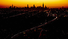USA, aerial photograph of the City of Chicago skyline at sunrise - BCDF00257