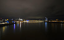 Germany, Cologne, view to Cologne Cathedral and Hohenzollern Bridge from Severins Bridge by night - ODF01469