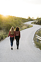 Back view of two friends walking side by side on empty road - KKAF00181