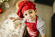 Portrait of little boy in kitchen - JRFF01102
