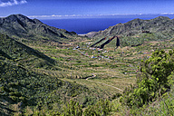 Spain, Tenerife, View into the valley of El Palmar and a hill that has been dug away for topsoil - DSGF01325