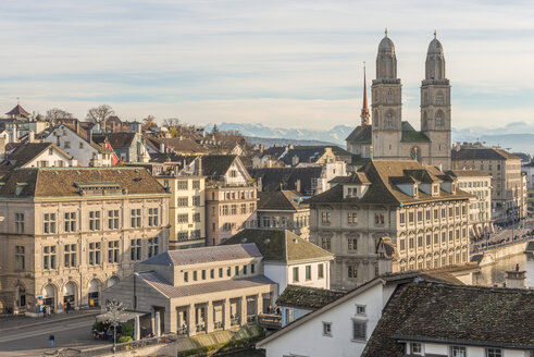 Switzerland, Zurich, view to Great Minster and Alps in the background - KEBF00441
