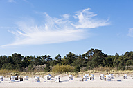 Germany, Usedom, Heringsdorf, beach chairs on beach - SIEF07218