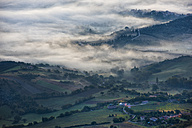 Italy, Marche, Apennines, aerial view of valleys with fog at sunrise - LOMF00454