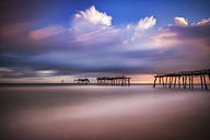 USA, North Carolina, Cape Hatteras, broken wooden pier - SMA00651