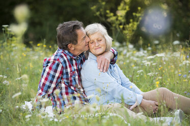 Senior couple relaxing together on a meadow - HAPF01239