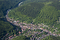 Germany, Ruhla, aerial view of Thuringian Forest and city - HWOF00161