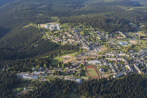 Germany, Oberhof, aerial view of city with skiing centre - HWOF00164
