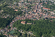 Germany, Waltershausen, aerial view of the city and Tenneberg Castle - HWOF00176