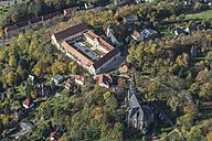 Germany, Zwickau, aerial view of Planitz Castle, castle church and St Luke's church - HWO00179