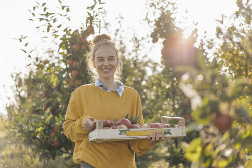 Young woman harvesting apples - KNSF00723