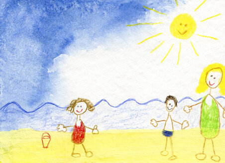 Children's drawing of happy family on the beach - CMF00626