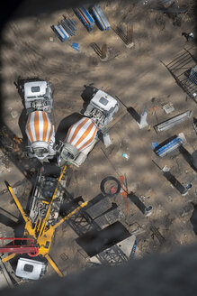 Concrete mixers on construction site, view from above - ZEF11973