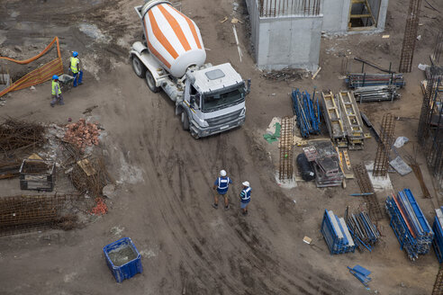 Concrete mixer on construction site, view from above - ZEF11976