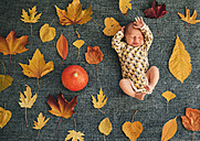 Newborn baby between autumnal leaves - MFF03401