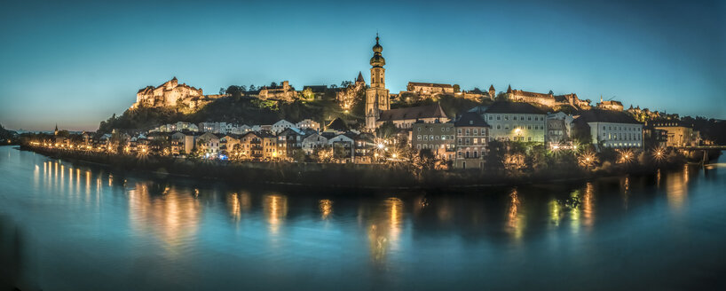 Germany, Burghausen, view to the lighted city with River Salzach in the foreground - HAMF00247