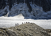 France, Chamonix, Argentiere Glacier, group of mountaineers - ALRF00755