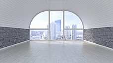 Empty room with view at skyline, 3D Rendering - UWF01083
